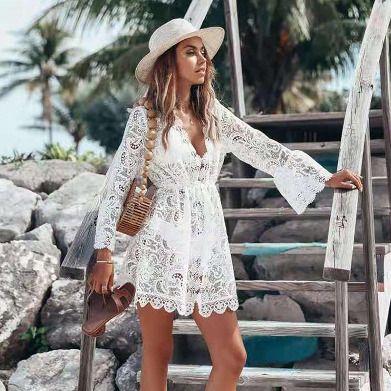 Fitshinling Lace Praia Cover-Up Swimwear manga comprida oco Out Branco Kimono 2020 Sexy Hot Bikini Outing férias Cardigan Venda