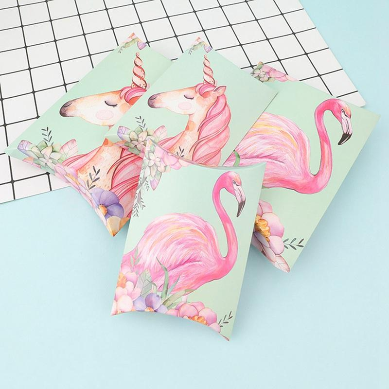 10pcs Flamingo Candy Box Bag Craft Paper Pillow Shape Wedding Favor Gift Boxes Pie Party Box Bags Eco Friendly Kraft Christmas