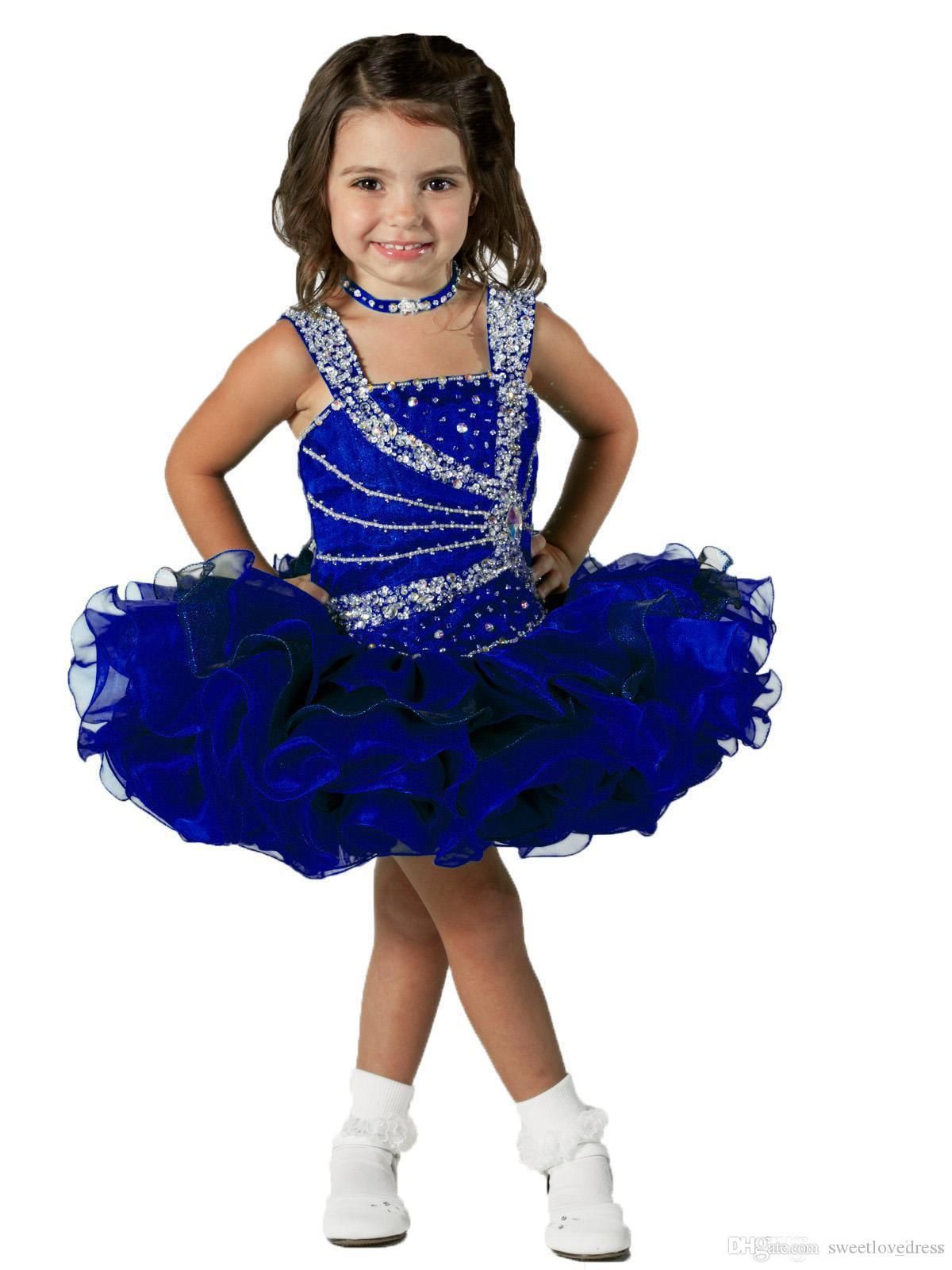 Royal Blue Ball gown Girl Pageant dresses With Crystal Beaded Organza Ruffle Short Kid Formal Wear for Toddler