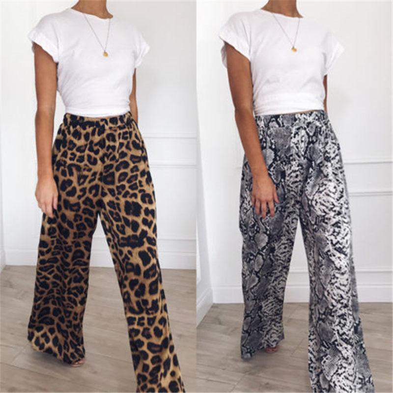 8a25a28821bb Moda Nuevo Casual Cintura alta Estampado de leopardo Mujeres sueltas  Pantalones Comodidad Destello pierna ancha Pantalones largos de las  muchachas ...
