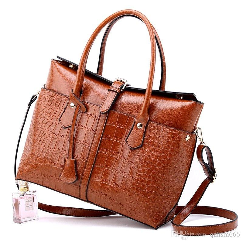 2019 spring and summer new women's bag fashion ladies briefcase crocodile pattern handbag shoulder diagonal package