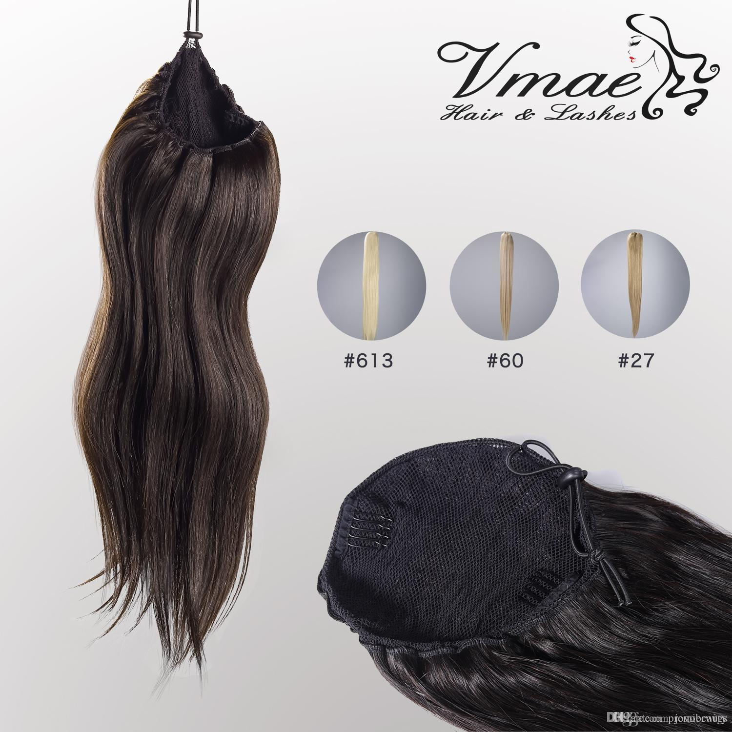 VMAE Human Straight Ponytail Hair 100g Natural Non Remy Hair horsetail tight hole Clip In Drawstring Ponytails Hair Extensions OPP Bag