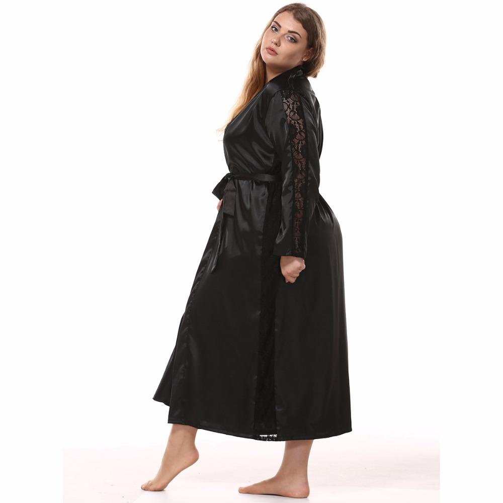 8e64a50679f 2019 Women Plus Size Silk Satin Maxi Robe Lace Hem Bathrobe Long Sleeve  Kimono Night Robe Bath Fashion Dressing Gown From Beenling