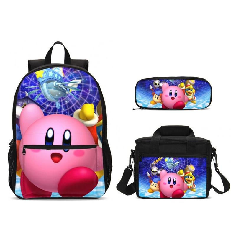 3Pcs/Set Portfolio School Bags For Boys Girls Cute Cartoon Kirby 3D  Printing Bookbag Teenager Children Satchel Casual Daypacks