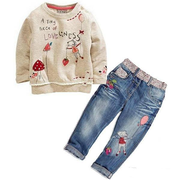 dba7266a04f4 2019 Kids Baby Girls Long Sleeve Tops + Jeans Denim Pants Set ...
