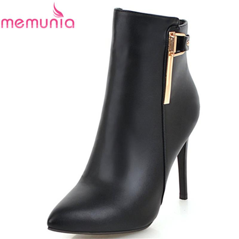 7bc8c6be1 Compre MEMUNIA 2018 Grande Tamanho 33 43 Ankle Boots Mulheres Dedo Apontado  Primavera Outono Botas Simples Zip Stiletto Saltos Vestido Sapatos Mulher  De ...