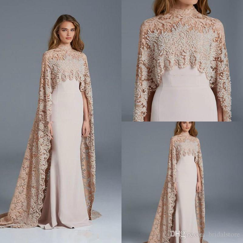 73c084990 Nova paolo sebastian vestidos de baile de gola alta dubai árabe noite  formal vestidos com manto cape elegante rendas sereia Vestidos de  Maternidade 2018
