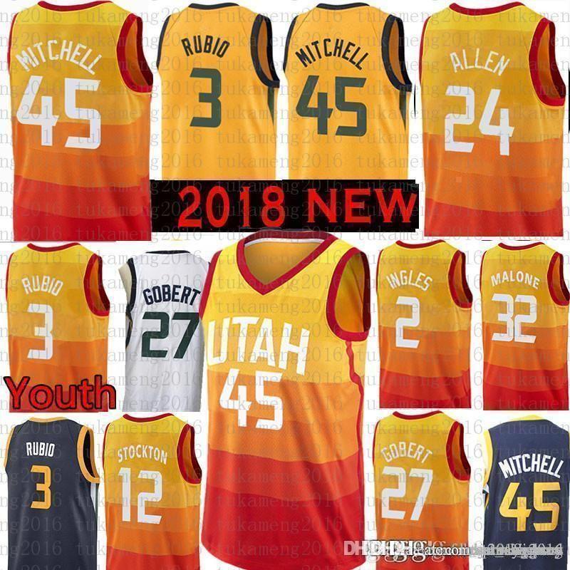 bc34d073212 Youth Men Utah Donovan 45 Mitchell Ricky 3 Rubio Jazzs Jersey Rudy ...