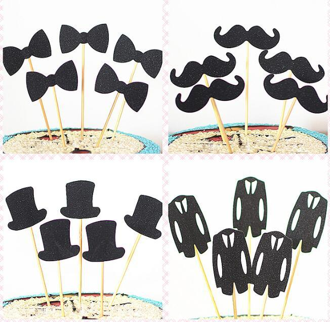 2019 Creative Cake Topper Beard Dress Black Hat Bow Tie Shape Cupcake Happy Birthday Party Decoration From Cosmose 2413