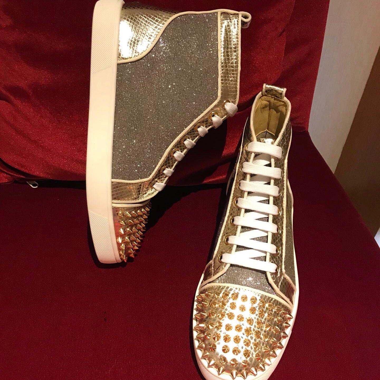 Fashion Casual Men s Designer Sneakers Gold Snake Python Printed ... a86de49852e3