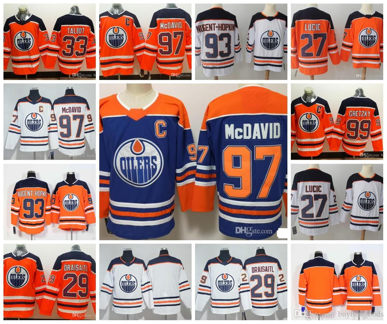 ceba7a203 2019 Edmonton Oilers 97 Jersey 99 Wayne Gretzky 29 Leon Draisaitl 27 Milan  Lucic 93 Ryan Nugent Hopkins Hockey Jerseys From Buybestgoods
