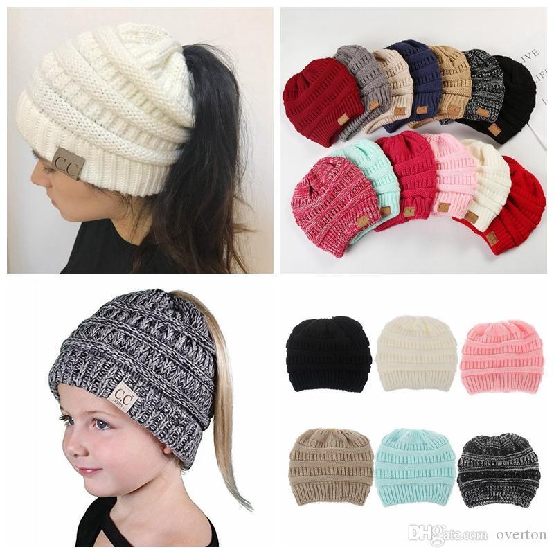 Parents Kids CC Ponytail Beanie Hat Women Crochet Knit Cap Winter Skullies  Beanies Warm Caps Female Knitted Stylish Hats Baby Beanies Beanie Hats For  Women ... 59775a227a9
