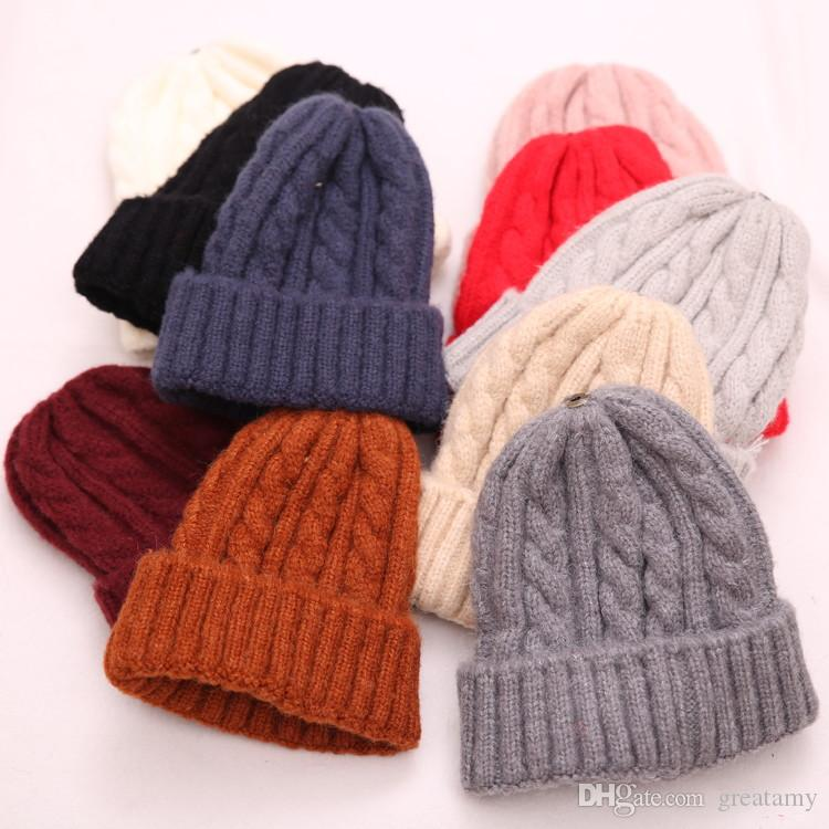 Men Women Solid Color Wool Knitted Caps Autumn Winter Warm Baby Cute ... fdb686995a