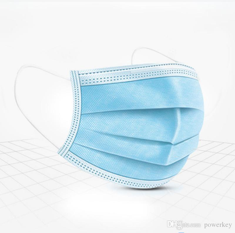 In Stock!Disposable Face Masks with Elastic Ear Loop 3 Ply Breathable and Comfortable for Blocking Dust Air Pollution Protection Pack