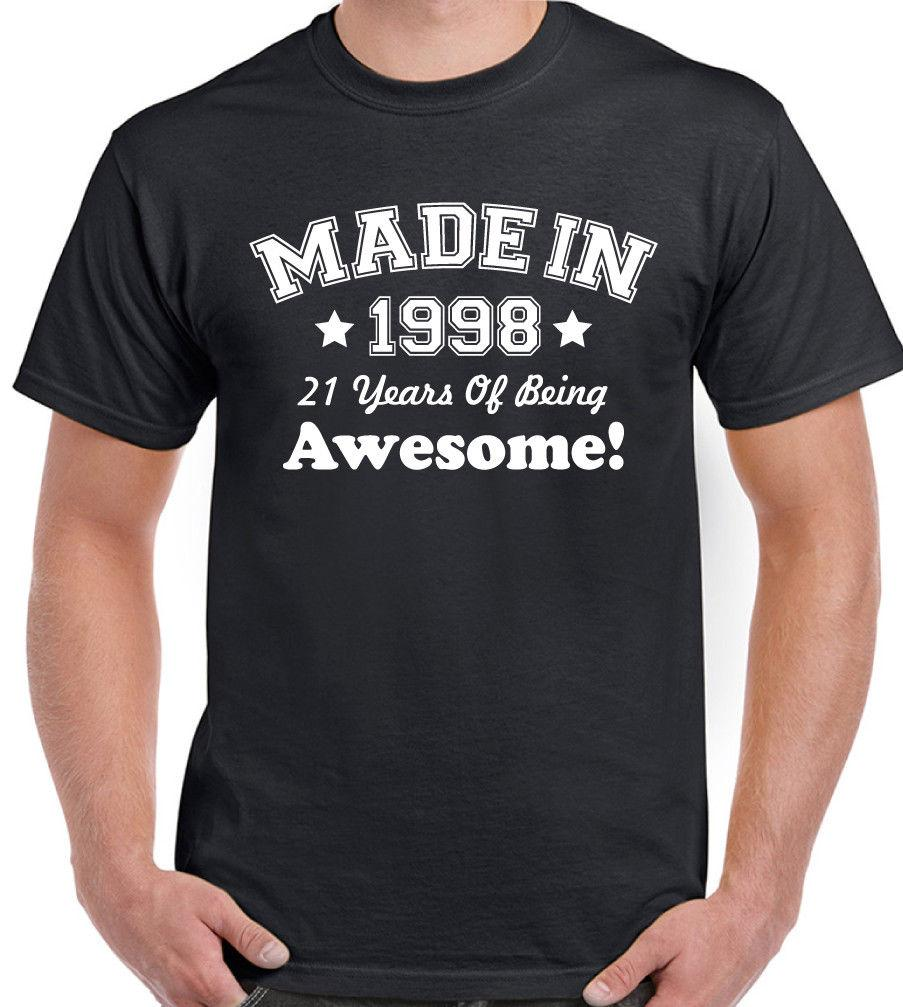 Made In 1998 Mens Funny 21st Birthday T Shirt 21 Year Old Gift PresentFunny Unisex Casual Top Graphic Design Own From Dragontee
