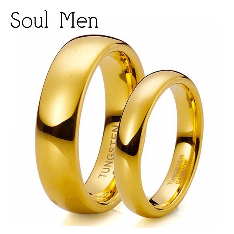 b787ef5f680ef 2019 Soul Men Gold Color Tungsten Wedding Band Ring Set 6mm Alliances Of  Marriage For Men 4mm For Women Comfort Fit TU025RC C18122801 From Xiao0003,  ...