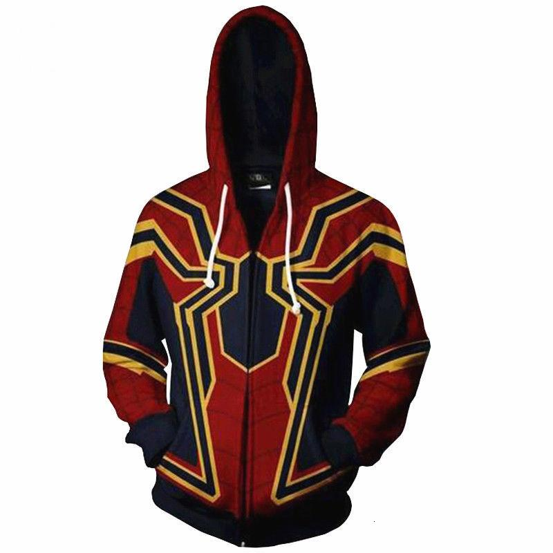 The Avengers 3 Superhero Spiderman Venom Hoodie Iron Man Captain America Sweats à capuche mince de fer Spiderman Casual Coat Zipper Outfit MX191121
