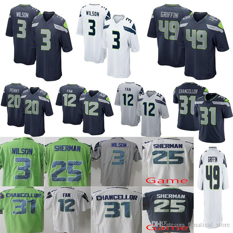 Discount Men Seattle Seahawks 49 Shaquem Griffin 3 Russell Wilson Jersey 20