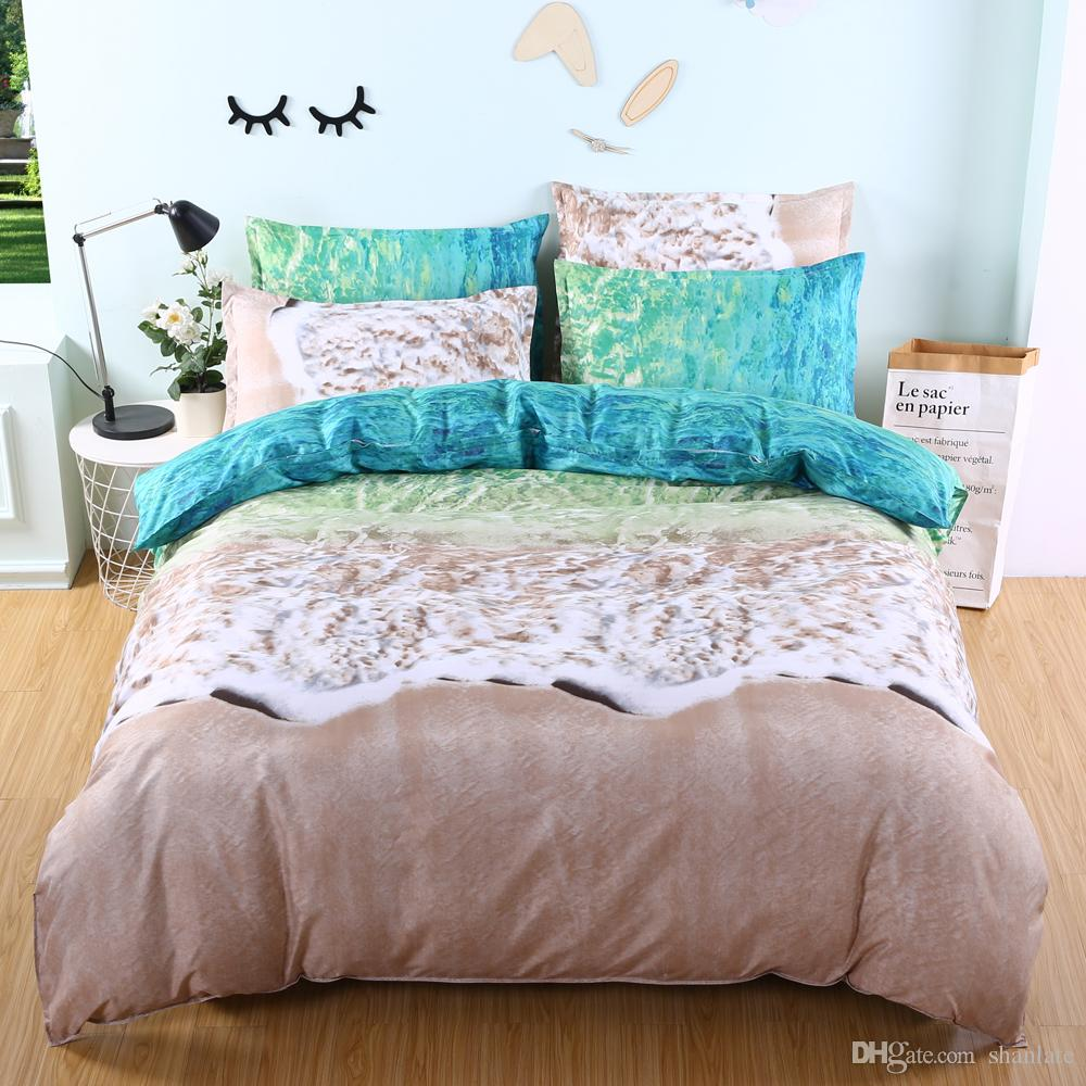 Free shipping Gift Beautiful Green Sea Beach Print Adult Children Bedding Set Duvet Cover Set with Pillowcase Twin full Queen King size
