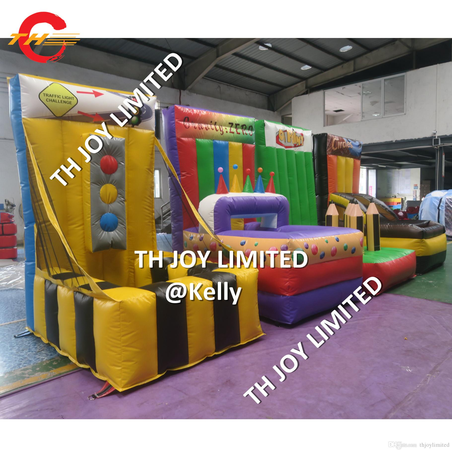 pvc tarpaulin 4 in 1 inflatable carnival games for sale new design durable inflatable balls toss hoopla sport game for kids adults