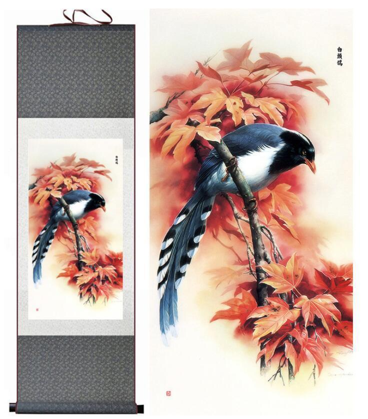 Traditional Birds And Flower Painting Home Office Decoration Chinese Scroll Painting Spring Ink Wash Painting2019061541