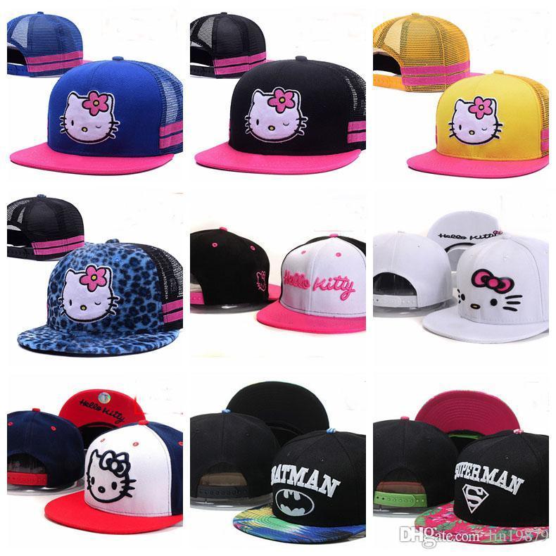 39be4766f 2019 Baby Pink Hello Kitty Kids Mesh Baseball Caps Toucas Gorros 3 8 Year  Cartoon Boys Girls Children Flat Hip Hop Adjustable Snapback Hats Custom Hat  Caps ...