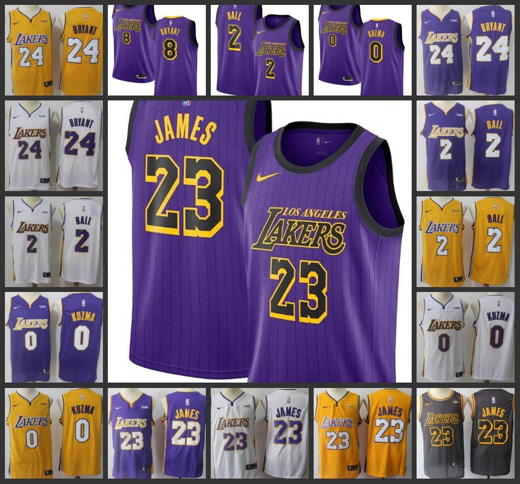 388f8a94f42 2019 18 19 Season Los Angeles Men Laker Jersey  23 LeBron James Kyle Kuzma  Lonzo Ball Kobe Bryant City Jerseys Edition Fan Version From Top hotjersey