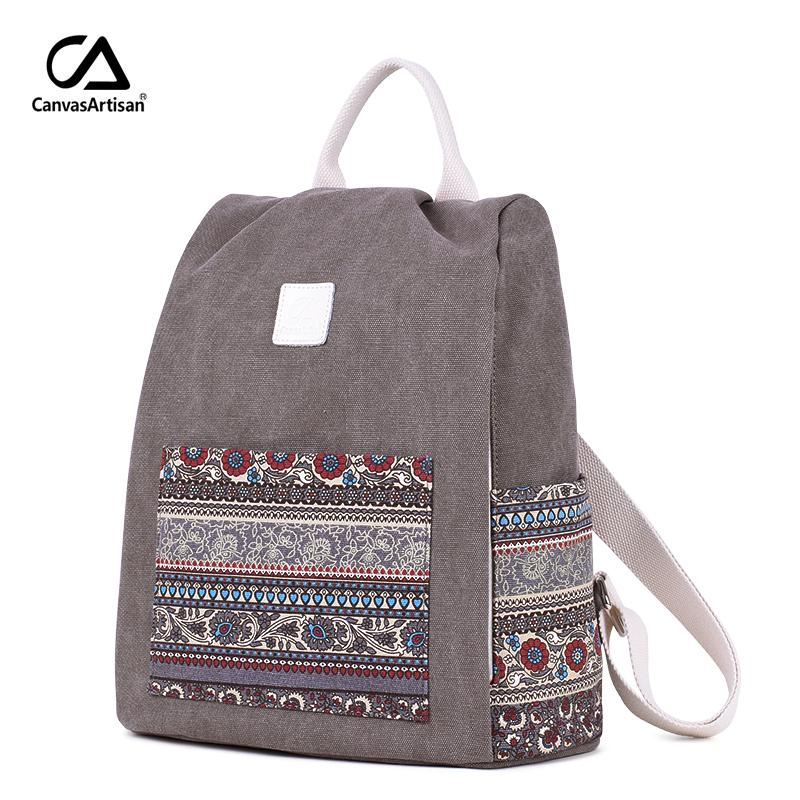 Canvasartisan Women S Canvas Backpack Retro Style Floral School Bookbag  Travel Small Backpacks Female Casual Daypack Bags Y18110202 Cheap Backpacks  Rolling ... 1d77a4c16442e
