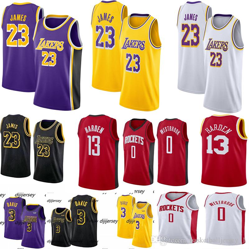 NCAA Mens James 23 Jérsei LeBron Anthony 3 Davis Russell 0 Westbrook Jimmy 21 Jérsei 13 Harden Camisas De Basquete Universitário