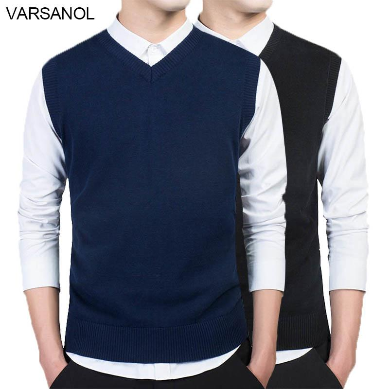 Varsanol Brand Clothing Pullover Sweater Men Autumn V Neck Slim Vest Sweaters Sleeveless Men's Warm Sweater Cotton Casual M-3xl SH190903