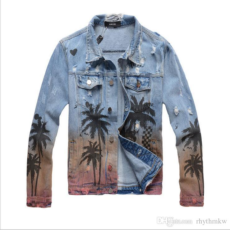 Trendy High Street Herren Jeansjacke Stylish Tropical Style Pattern Holes Star mit der gleichen Art von Denim AM Jacke