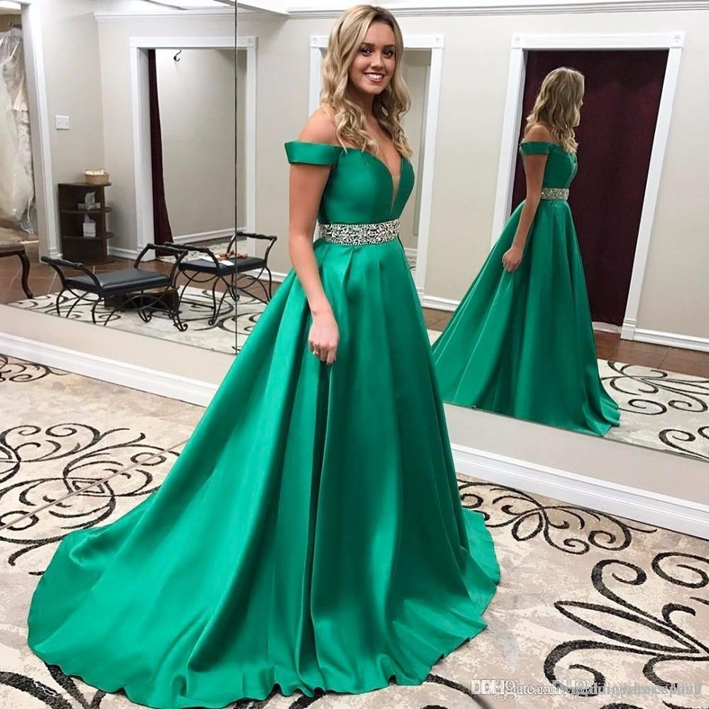 85944ab9bd Emerald Green Prom Gown 2018 A Line V Neck Off The Shoulder Sexy Women  Formal Party Dress Sweep Train Satin Evening Dresses With Beads Waist  Western Prom ...