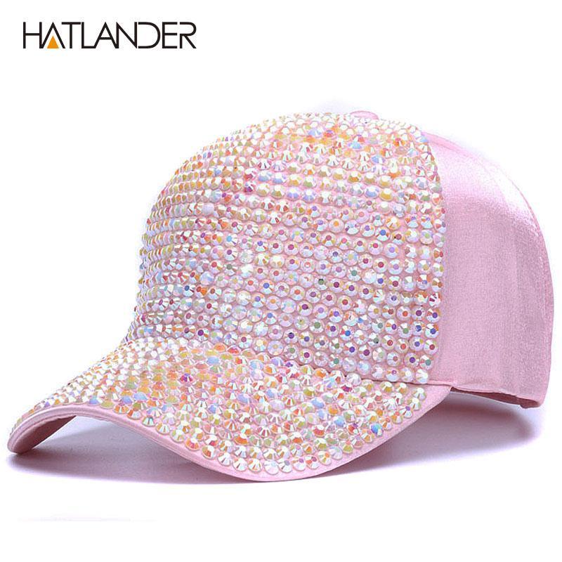 9536037c1bd56 2019 HATLANDERWomens Rhinestone Baseball Caps Female Luxury Bling Hats  Outdoor Diamond Sun Hat Girl Snap Back Gorras Sports Hat Cap From  Sportblue