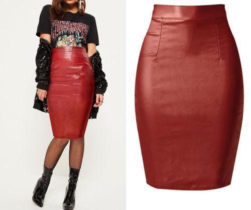 3cac6ec72b 2019 FORMAL FASHION WOMENS PU LEATHER Skirts WET LOOK FAUX LEATHER PENCIL  STRECH BODYCON HIGH MIDI SKIRT From Jamie13, $37.4 | DHgate.Com