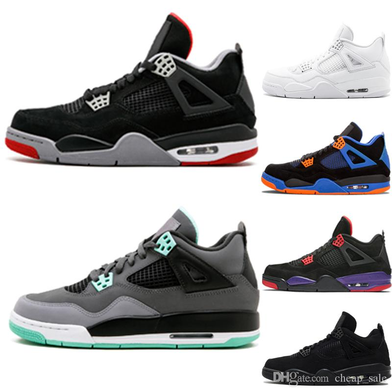 outlet store 399f1 ea2d6 4 4s Green Glow Bred basketball shoes for men CAVS black cat Raptors Fire  Red Pure Money White Cement mens sports trainer sneakers