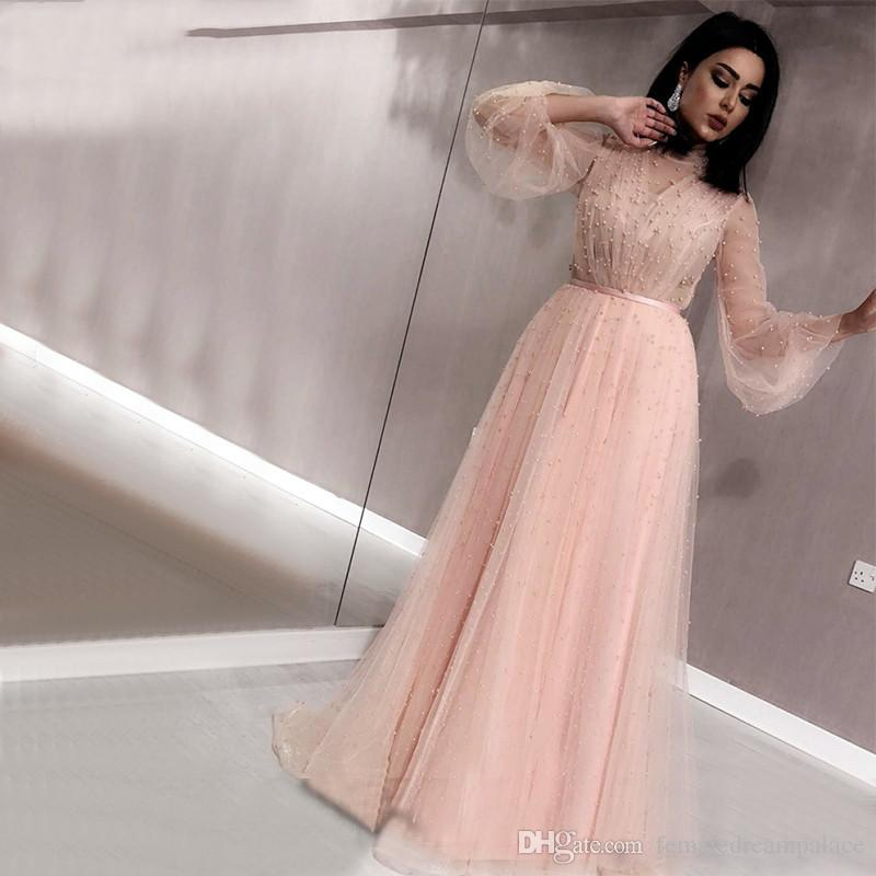 2019 Elegant Pink Tulle Prom Dresses Sheer Neck Long Sleeves Evening Gowns Custom Floor Length Heavy Pearls Party/Cocktail Dresses