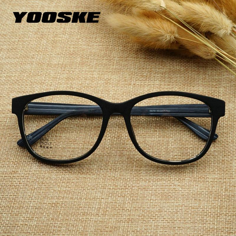 9dfbc40b47c 2019 YOOSKE Retro Round Glasses Men Wooden Pattern Clear Lens Glasses Frame  Women Optical Spectacle Eyeglasses Vintage Eyewear From Poety
