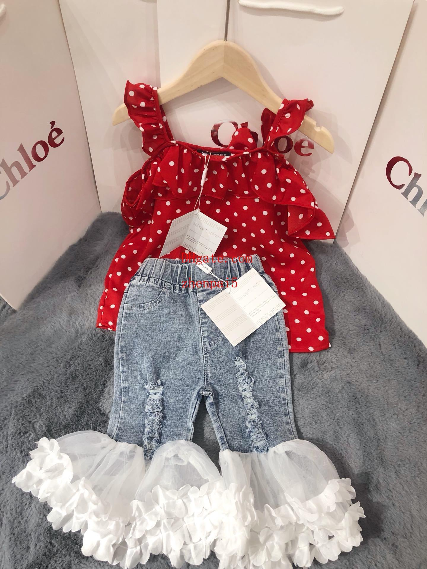 kids brand clothes girls baby girl clothes tank top jeans pantalones cortos vetement bebe Girls jeans set Large lace flared pants baby