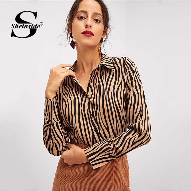 80391fc7e683 2019 Sheinside Office Ladies Button Up Dip Hem Shirts Women Animal Print  Long Sleeve Blouse Shirt 2018 Autumn Womens Tops And Blouses Y190423 From  ...