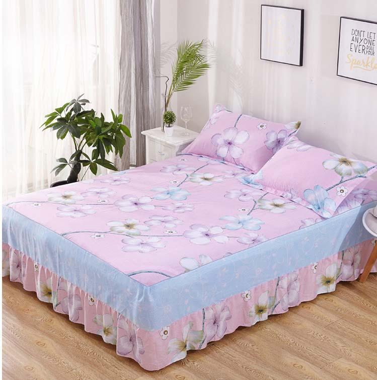 Pink Flower With Elastic Bandage Bed Skirt Cotton Bed Cover Fitted