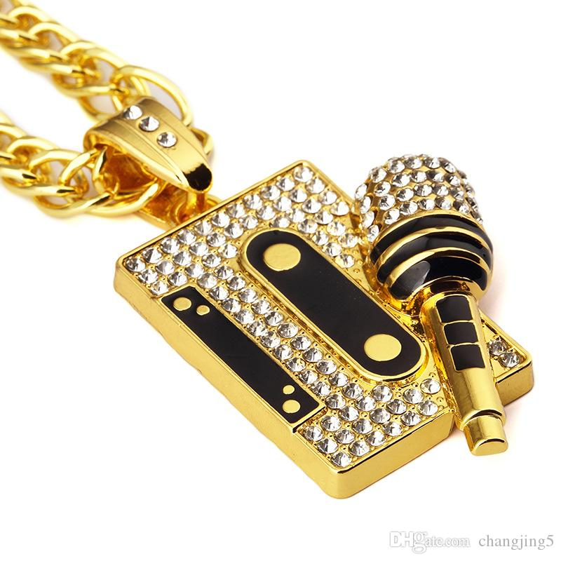 Tape Microphone Pendant Necklace Hip Hop Black Rap Necklace Golden Alloy Necklace Hot Sale