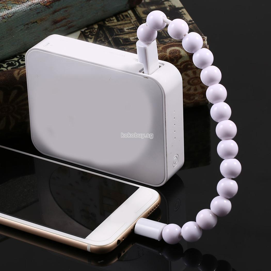 New Creative USB Data Cable Bead Bracelet Charger For IPhone Android Cell Phone
