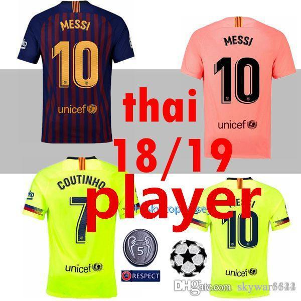 c1ca859b2 2019 PLAYER 2018 2019 FC Barcelona MESSI Soccer Jersey Champions ...
