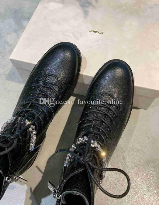 Luxury New JC Womens London Rhinestone Martin Army Knight Motorcycle Outdoor Cow Leather Crystal Chain Boots Footwear Size 35-42