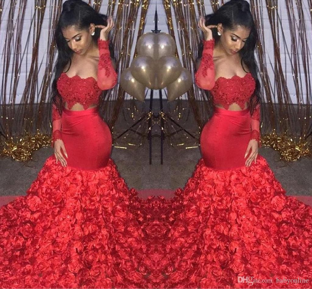 8c44b00d79 2019 Newest Cascading Rose Flowers Bottom Red Prom Dresses Sexy Sheer Long  Sleeve Appliques Top Long Evening Gowns Custom Made BC1669