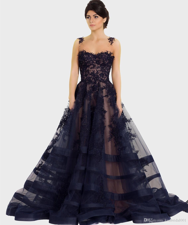 4fd0dcabc Compre Azul Marino Oscuro Vestidos De Baile Largos 2019 Vestidos De Fiesta  Vestidos De Noche De Encaje Con Cuentas Batas De Fiesta Mujeres Celebrity  Vestido ...