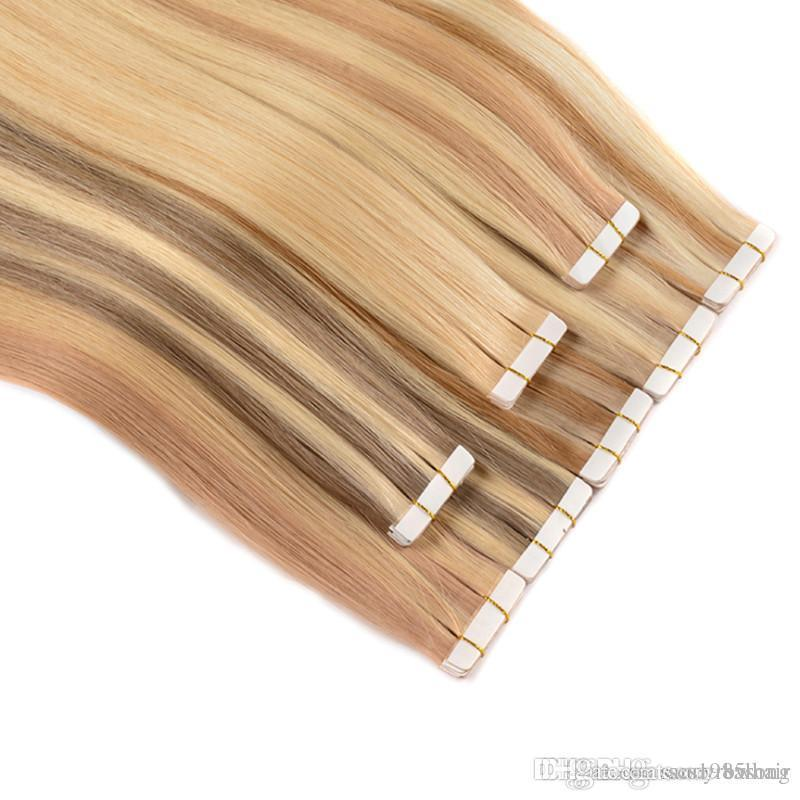 150Gram=60pcs 18 20 22 24 inch Glue Skin Weft PU Tape in Human Hair Extensions INDIAN REMY Fast Delivery, 4colors option, free shipping