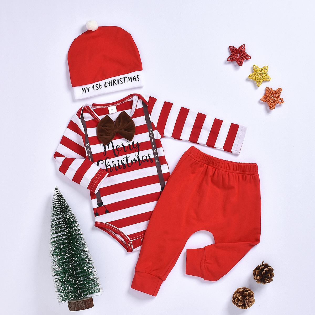 Set ragazzo neonato manica lunga Papillon a righe tuta di Tops mutanda lunga Cappello Outfits Natale che coprono insieme