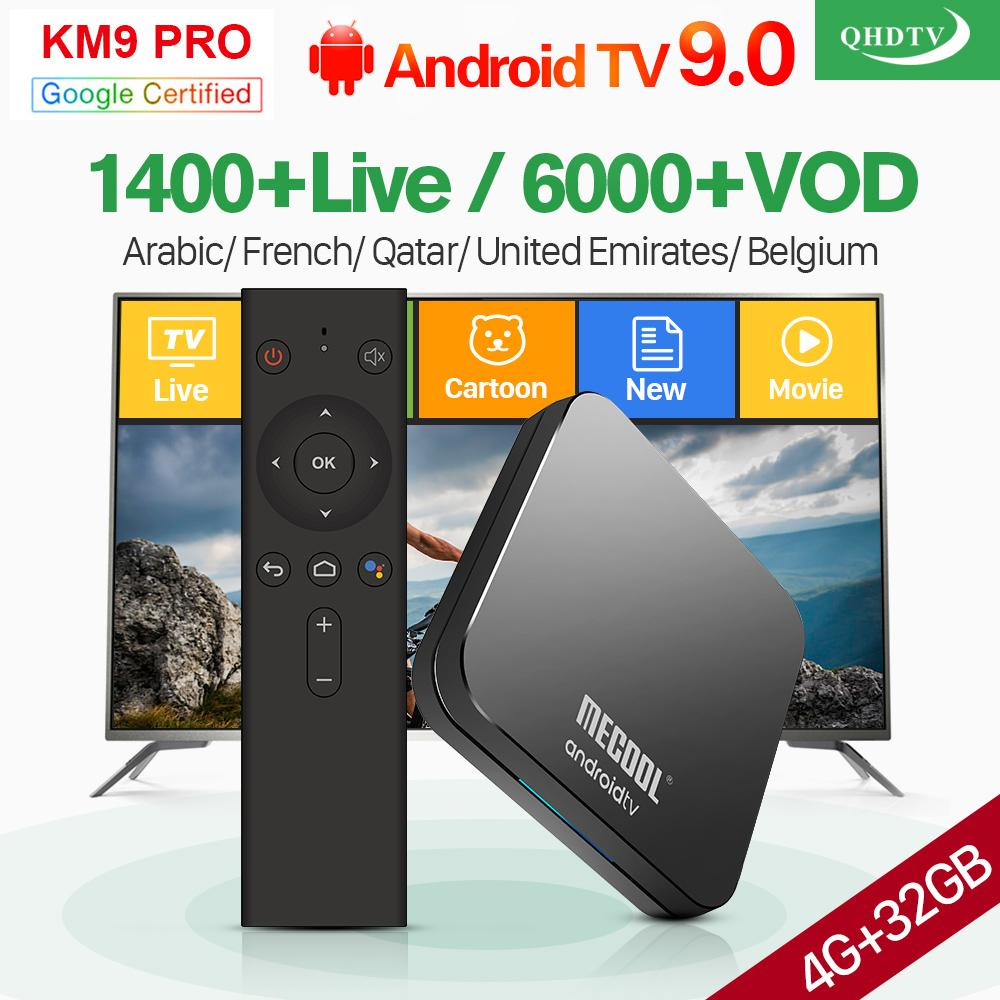 IPTV France Arabic KM9Pro Android TV 9 0 4G 32G Support BT Dual-Band WIFI  IPTV France Arabic Belgium Netherlands QHDTV 1 Year IPTV