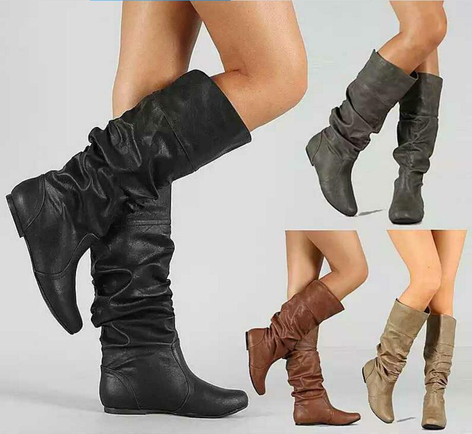 e1840fb86e0 Pop 2019 Girls Boots Slip On Flats Knee High Pleated Ladies Chaussure Women  Winter Shoes Woman Zapatos Mujer Sapato Feminino Leather Boots Ladies Boots  From ...